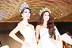 (L-R) Miss Grand Japan 2015 winner Ayaka Tanaka and Miss Grand International 2014 winner Lees Daryanne Garcia pose during the Miss Grand Japan 2015 contest in Tokyo on August 24, 2015. The 25-year-old nurse from Saitama will represent Japan in the Miss Grand International 2015 contest to be held in Thailand later this year. (Photo by AFLO)