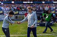 CHICAGO, IL - OCTOBER 6: Jill Ellis of the United States shakes hands with Hwang Insun of Korea Republic during a game between Korea Republic and USWNT at Soldier Field on October 6, 2019 in Chicago, Illinois.