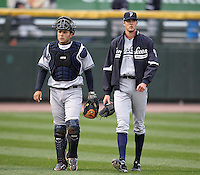Scranton Wilkes-Barre Yankees catcher Jesus Montero #21 walks in from the bullpen with Andrew Brackman #40 during a game against the Rochester Red Wings at Frontier Field on April 12, 2011 in Rochester, New York.  Scranton defeated Rochester 5-3.  Photo By Mike Janes/Four Seam Images