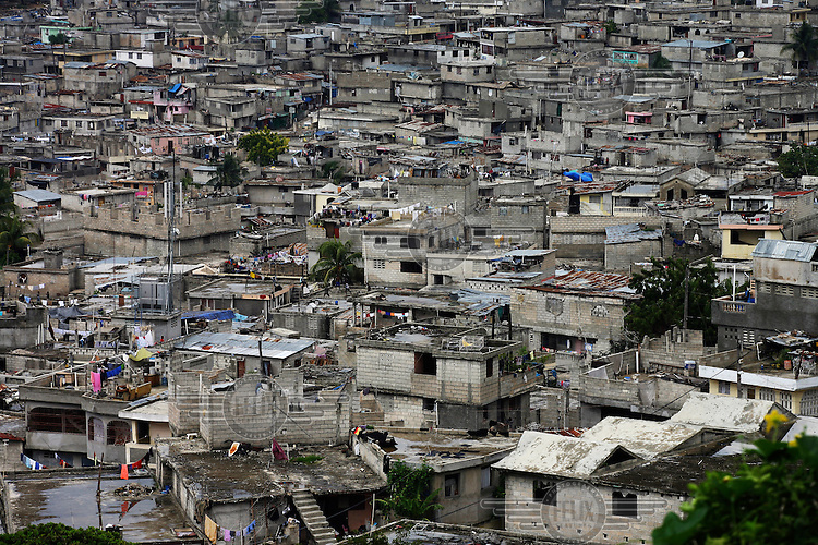 Tightly packed housing in the suburbs of Port-au-Prince.