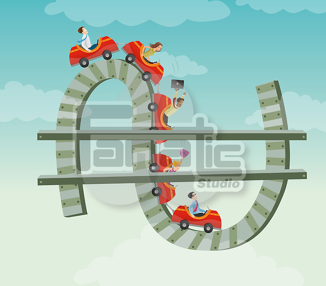 Conceptual image of roller coaster over dollar sign depicting ups and downs of business