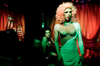 Drag queens presenting a show at the Central Station, an LGBT nightclub in the city centre. On 30 June 2013, Russian President Vladimir Putin signed into law an ambiguous bill banning the 'propaganda of nontraditional sexual relations to minors'. The law met with widespread condemnation from human rights and LGBT groups. (MANDATORY CREDIT   photo: Mads Nissen/Panos Pictures /Felix Features)