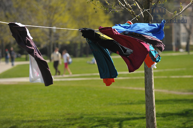 "Gender Relations Center's ""Clothesline Project"", part of the Festival on the Quad...Photo by Matt Cashore/University of Notre Dame"