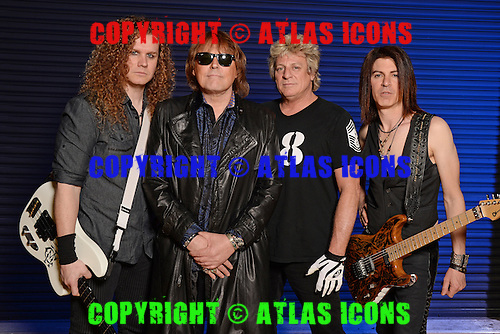 FORT LAUDERDALE FL - FEBRUARY 27: Chris McCarvill, Don Dokken, Mick Brown and Jon Levin of Dokken pose for a portrait at The Pompano Beach Amphitheater on February 27, 2016 in Fort Lauderdale, Florida. Photo by Larry Marano © 2016