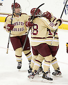 Alex Carpenter (BC - 5), Ashley Motherwell (BC - 18), Emily Field (BC - 15) -  - The visiting University of Minnesota Duluth Bulldogs defeated the Boston College Eagles 3-2 on Thursday, October 25, 2012, at Kelley Rink in Conte Forum in Chestnut Hill, Massachusetts.