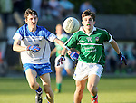 XXjob 22/04/2015 SPORT<br /> Limericks James Ryan &amp; Waterford's Darragh O'Grady in action during their munster Minor Football Semi-Final 1st Playoff in Newcastle West County Limerick.<br /> Picture  Credit Brian Gavin Press 22