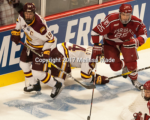 Dominic Toninato (UMD - 19), Alex Iafallo (UMD - 14), Wiley Sherman (Harvard - 25) - The University of Minnesota Duluth Bulldogs defeated the Harvard University Crimson 2-1 in their Frozen Four semi-final on April 6, 2017, at the United Center in Chicago, Illinois.
