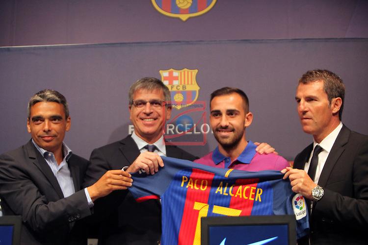 League Santander 2016/2017.<br /> Paco Alcacer presented as new player of FC Barcelona.<br /> Albert Sole, Jordi Mestre, Paco Alcacer &amp; Robert Fernandez.