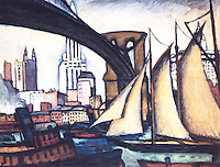 New York City: Brooklyn Bridge--a painting by Samuel Halpert, 1913.  Whitney Museum.  Reference only.