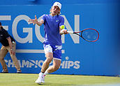 June 19th 2017, Queens Club, West Kensington, London; Aegon Tennis Championships, Day 1; Denis Shapovalov of Canada stretches out to play a volley versus Kyle Edmund of Great Britain