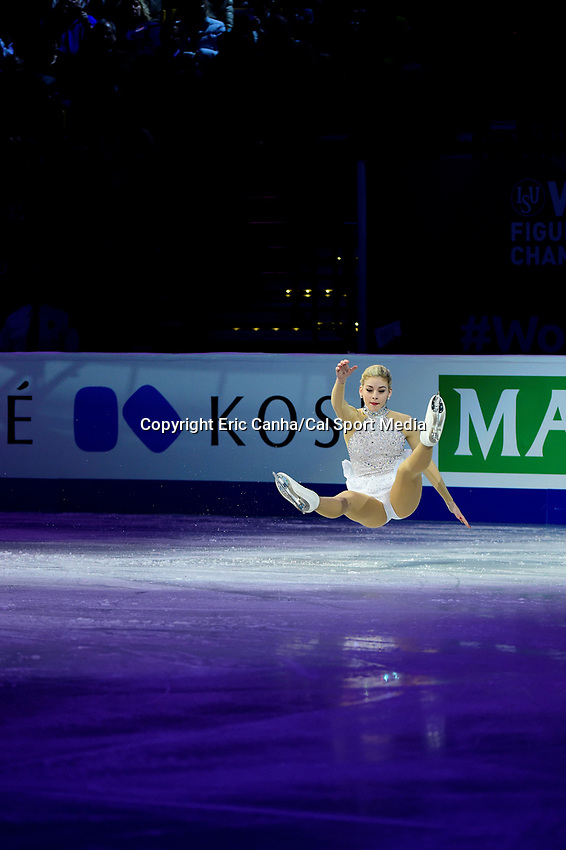 Sunday, April 3, 2016: Gracie Gold (USA) falls during the International Skating Union World Champions Exhibition, held at TD Garden, in Boston, Massachusetts. Eric Canha/CSM
