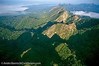 Serrania de Bala and Rio Beni near border of Madidi National Park, view downriver toward town of Rurrenabaque, lowland tropical rainforest, Bolivia.