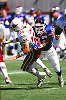 NY Giants Michael Strahan hits Arizona Cardinals QB Jake Plummer