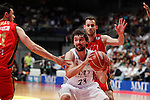 Real Madrid´s Sergio Rodriguez (C) and CAI Zaragoza´s Llompart during 2013-14 Liga Endesa basketball match at Palacio de los Deportes stadium in Madrid, Spain. May 30, 2014. (ALTERPHOTOS/Victor Blanco)