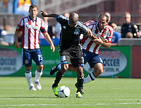 Santa Clara, California - Sunday May 13th, 2012: Nick LaBrocca of Chivas USA defending Tressor Moreno of San Jose Earthquakes during a Major League Soccer match at Buck Shaw Stadium
