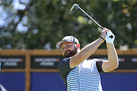 Andy Sullivan (ENG) tees off the 8th tee during Saturday's Round 3 of the 2018 Omega European Masters, held at the Golf Club Crans-Sur-Sierre, Crans Montana, Switzerland. 8th September 2018.<br /> Picture: Eoin Clarke | Golffile<br /> <br /> <br /> All photos usage must carry mandatory copyright credit (&copy; Golffile | Eoin Clarke)