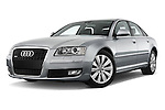 Low aggressive front three quarter view of a 2010 Audi A8 4 Door Sedan 4WD