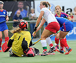 Mannheim, Germany, September 27: During the 1. Bundesliga Damen Saison 2014/15 field hockey match between Mannheimer HC and TSV Mannheim on September 27, 2014  Mannheimer Hockey Club in Mannheim, Germany. Final score 3-3 (2-3). (Photo by Dirk Markgraf / www.265-images.com) *** Local caption *** Friederike Schreiber (TW) of TSV Mannheim, Tanja Fabig #31 of TSV Mannheim, Lydia Haase #12 of Mannheimer HC