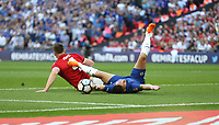 Chelsea's Eden Hazard is brought down by Manchester United's Phil Jones and earns his side a first half penalty<br /> <br /> Photographer Rob Newell/CameraSport<br /> <br /> Emirates FA Cup Final - Chelsea v Manchester United - Saturday 19th May 2018 - Wembley Stadium - London<br />  <br /> World Copyright &copy; 2018 CameraSport. All rights reserved. 43 Linden Ave. Countesthorpe. Leicester. England. LE8 5PG - Tel: +44 (0) 116 277 4147 - admin@camerasport.com - www.camerasport.com