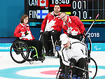 Pyeongchang, Korea, 15/3/2018- Mark Ideson, Marie Wright, Dennis Thiessen compete in the  wheelchair curling during the 2018 Paralympic Games in PyeongChang.  Photo Scott Grant/Canadian Paralympic Committee.