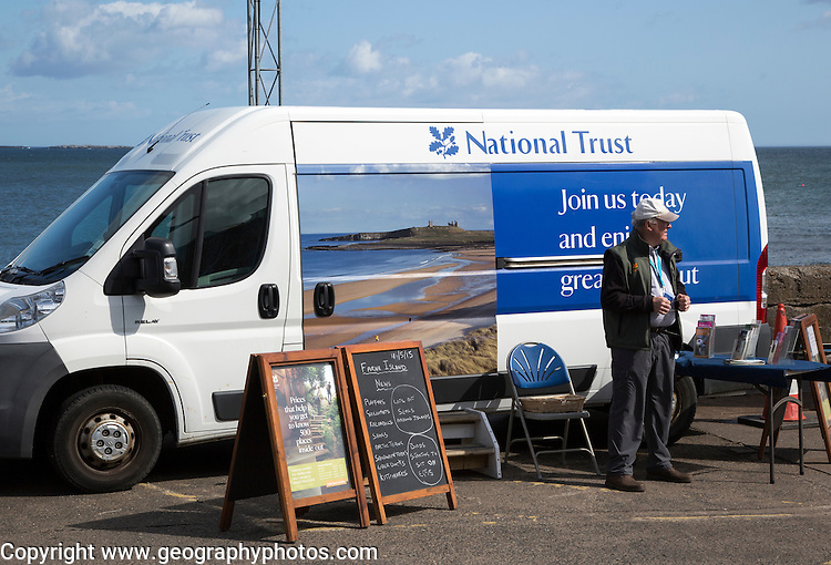 National Trust membership sales vehicle, Seahouses, Northumberland, England, UK