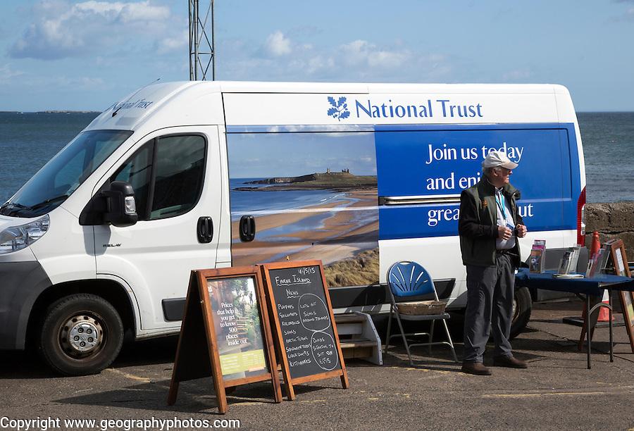 National Trust membership sales vehicle, Seahouses, Northumberland, England, UK
