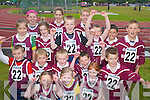 ATHLETIC: Marian Park/Manor athletic team who went in search of medals at the Community Games County Finals at An Riocht Track, Castleisland, last Saturday. Front row l-r: Tamara Foley, Alannah Dennehy and Rebecca Dennehy. Middle row l-r: Diarmuid OConnell, Michael Walsh, Patrick Kearney, Lucas Cronin and Liam Kennedy. Back row l-r: Emer Brosnan, Danielle Cullen, Clara Heinrich, Lorraine Truslove, Darren Cronin, Eoin OCarroll, Dylan Raymond, Jason Roche and Kevin Foley..