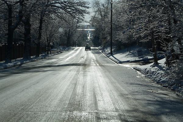 Snowy road, Boulder, Colorado, USA