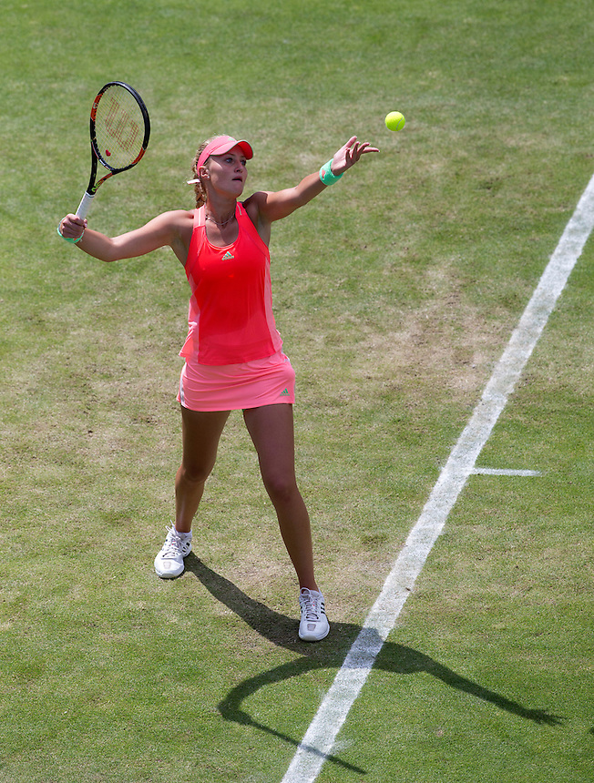 Kristina Mladenovic (FRA) in action during her victory over [1] Simona Halep (ROU) in their Women&rsquo;s Singles Quarter Final match today[1] Simona Halep (ROU) - Kristina Mladenovic (FRA) def [1] Simona Halep (ROU) 2-6 6-0 7-6(4)<br /> <br /> Photographer Stephen White/CameraSport<br /> <br /> Tennis - WTA International - Aegon  Classic - Day 5 - Friday 19th June 2015 - Edgbaston Priory Club - Birmingham<br /> <br /> &copy; CameraSport - 43 Linden Ave. Countesthorpe. Leicester. England. LE8 5PG - Tel: +44 (0) 116 277 4147 - admin@camerasport.com - www.camerasport.com