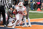 Wisconsin Badgers running back Alec Ingold (45) scores a touchdown during an NCAA College Big Ten Conference football game against the Illinois Fighting Illini Saturday, October 28, 2017, in Champaign, Illinois. The Badgers won 24-10. (Photo by David Stluka)