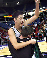 Palo Alto High School's Jeremy Lin and Cooper Miller ( back to camera)  celebrate their victory during Friday, March 17, 2006, California Interscholastic Federation state championship game. Palo Alto High School won the boys division II game 51-47.  ( @ Photo by Norbert von der Groeben )