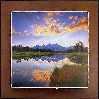 """Teton Sunset - Mixed Media - Wyoming<br /> <br /> Each unique piece is made to order. If I have the piece in stock I can ship it in 2-3 days. If I don't have it in stock and it has to be made, it will ship in 1-2 weeks. Feel free to contact me at chey.rouse@gmail.com before you order if you need the piece ASAP. <br /> <br /> The photograph is printed on a Silk photo paper, the edges of the photo are torn, photo is mounted to foam board, then I mount it to an 8""""x8"""" piece of rusted metal. The rust is unique on each piece...no two pieces are alike. PLEASE keep in mind that the rust on the piece(s) you receive may be slightly different than the photo. Each piece of metal is sealed after it is done """"rusting"""" and is titled, hand signed and, ready to hang. To see the detail for theses Mixed Media pieces please click on the 1st photo in this gallery. You will be able to see the detail of the torn paper edge as well as the back of the piece."""