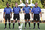 09 September 2014: Match Officials. From left: Assistant referee Raymond Thomas, referee Andrew Chapin, fourth official Jeremy Smith, and assistant referee Brian Saucedo. The Duke University Blue Devils hosted the Temple University Owls at Koskinen Stadium in Durham, North Carolina in a 2014 NCAA Division I Men's Soccer match. Duke won the game 3-1.