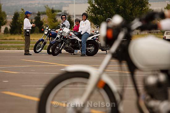 West Jordan - during a motorcycle course put on by Motorcycle Rider Training at Salt Lake Community College's Jordan campus Saturday, August 29 2009. .