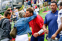 August 8, 2017: New England Patriots quarterback Tom Brady (12)  kisses his mother Galynn Patricia Brady on the practice field at the New England Patriots training camp held at Gillette Stadium, in Foxborough, Massachusetts. Eric Canha/CSM