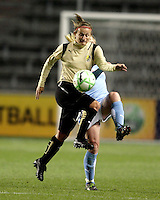 FC Gold Pride forward Tiffeny Milbrett (15) controls a long ball.  The defeated the FC Gold Pride defeated the Chicago Red Stars 1-0 at Toyota Park in Bridgeview, IL on May 16, 2009.