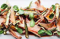 Butcher's Special made of crispy pig ear with okra and pickled watermelon and a corn cascabel puree at Julep Restaurant in Denver, Colorado, Friday, July 20, 2018.<br /> <br /> Photo by Matt Nager