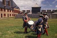 fort, Cape Breton, Nova Scotia, NS, Canada, Atlantic Ocean, Fife and drum corp play at King's Bastion at the Fortress of Louisbourg National Historic Site on Cape Breton Island in Nova Scotia.