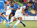Getafe CF's Allan Nyom (l) and Atalanta BC's Luis Muriel during friendly match. August 10,2019. (ALTERPHOTOS/Acero)