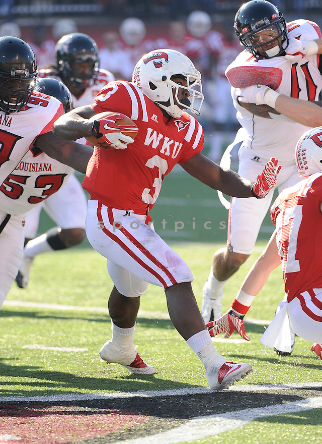 BOBBY RAINEY, of the Western Kentucky Hilltoppers, in action during Western Kentuckys game against the Louisiana-Lafayette Ragin' Cajuns on October 22, 2011 at Houchens Industries-LT Smith Stadium in Bowling Green, KY. Western Kentucky beat Louisiana-Lafayette 42-23.