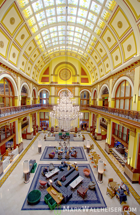 The inside of the old Union Station in downtown Nashville, Tennessee that has been restored and remodeled into a high end hotel