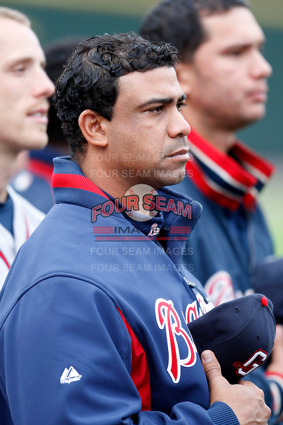 June 3, 2009:  Rafael Cruz of the Gwinnett Braves before a game at Frontier Field in Rochester, NY.  The Braves are the International League Triple-A affiliate of the Atlanta Braves.  Photo by:  Mike Janes/Four Seam Images