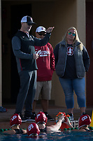 STANFORD, CA - February 4, 2018: Team at Avery Aquatic Center. The Stanford Cardinal defeated Long Beach State 14-2.