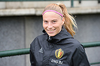 20170914 - TUBIZE ,  BELGIUM : Belgian Jana Coryn pictured during the friendly female soccer game between the Belgian Red Flames and European Champion The Netherlands , a friendly game in the preparation for the World Championship qualification round for France 2019, Thurssday 14 th September 2017 at Euro 2000 Center in Tubize , Belgium. PHOTO SPORTPIX.BE | DAVID CATRY