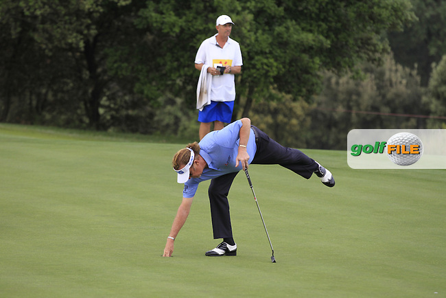 Miguel Angel Jimenez (ESP) on the 12th green during Round 1 of the Open de Espana  in Club de Golf el Prat, Barcelona on Thursday 14th May 2015.<br /> Picture:  Thos Caffrey / www.golffile.ie