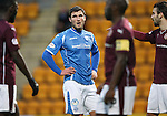 St Johnstone v Hearts..19.12.15  SPFL  McDiarmid Park, Perth<br /> John Sutton takes a breather<br /> Picture by Graeme Hart.<br /> Copyright Perthshire Picture Agency<br /> Tel: 01738 623350  Mobile: 07990 594431