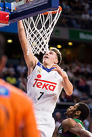 Real Madrid's player Luka Doncic and Unicaja Malaga's player Jeff Brooks during match of Liga Endesa at Barclaycard Center in Madrid. September 30, Spain. 2016. (ALTERPHOTOS/BorjaB.Hojas) /NORTEPHOTO