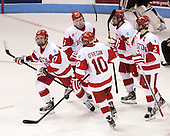 Evan Rodrigues (BU - 17), Matt Grzelcyk (BU - 5), Danny O'Regan (BU - 10), Matt Nieto (BU - 19), Ryan Ruikka (BU - 2) - The Boston University Terriers defeated the visiting Northeastern University Huskies 5-0 on senior night Saturday, March 9, 2013, at Agganis Arena in Boston, Massachusetts.