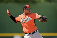Baltimore Orioles Jomar Reyes (9) during a minor league spring training game against the Minnesota Twins on March 28, 2015 at the Buck O'Neil Complex in Sarasota, Florida.  (Mike Janes/Four Seam Images)