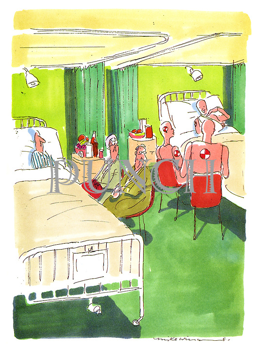 (crash test dummies visiting an injured colleague in hospital.)
